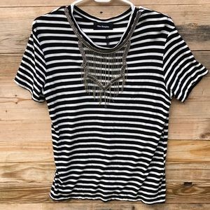 The Kooples | Striped Black White Chain Shirt 1